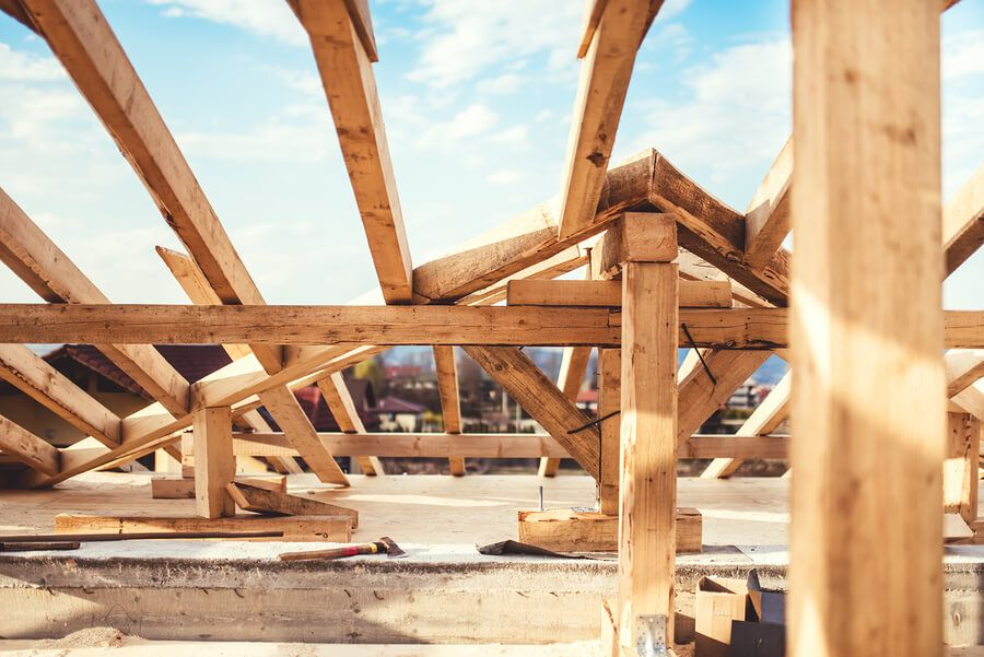 Partially constructed wooden frame of a building